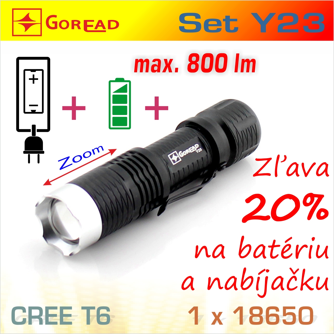 SET Y23 LED baterka + BAT1826 + nabíjačka