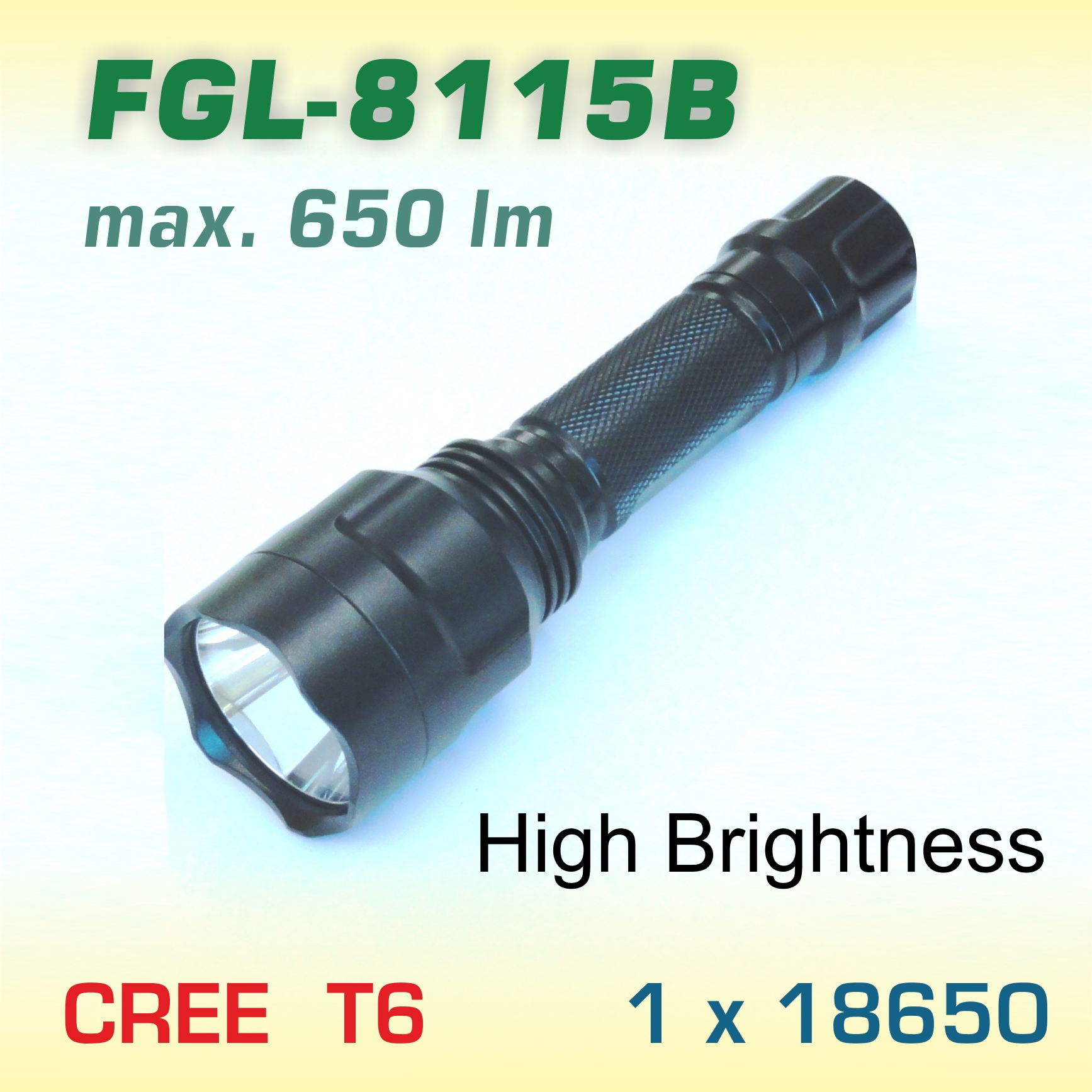 FlexGreen FGL-8115B LED baterka T6, 1x18650