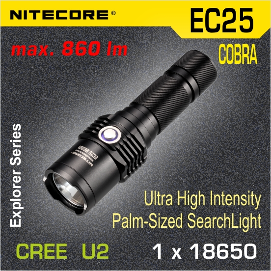Nitecore EC25 COBRA LED baterka U2 set, 1x18650