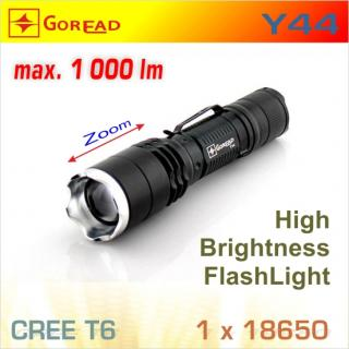 Goread Y44 LED baterka T6 Zoom, 1x18650 / 3xAAA