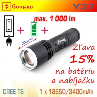 SET Y37 LED baterka + BAT1834 + nabíjačka